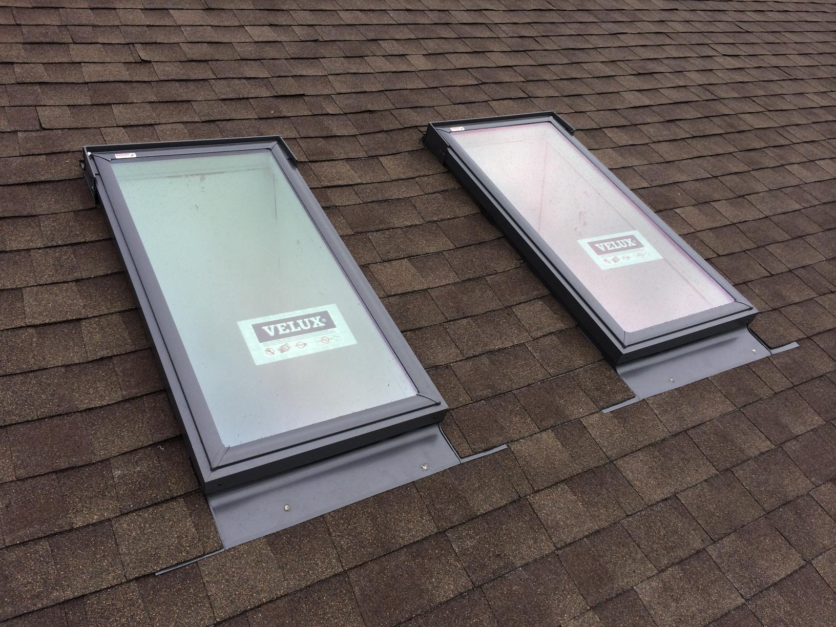 Newly installed skylights.