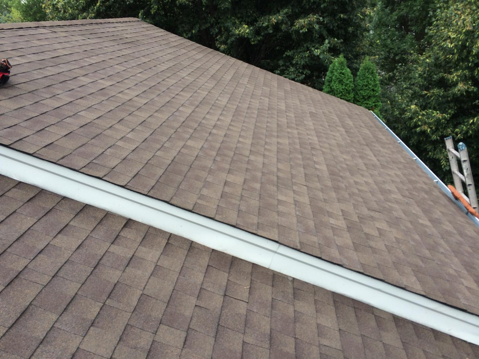Newly installed GAF Brand shingles. Timberline Natural Shadow, Barkwood color.