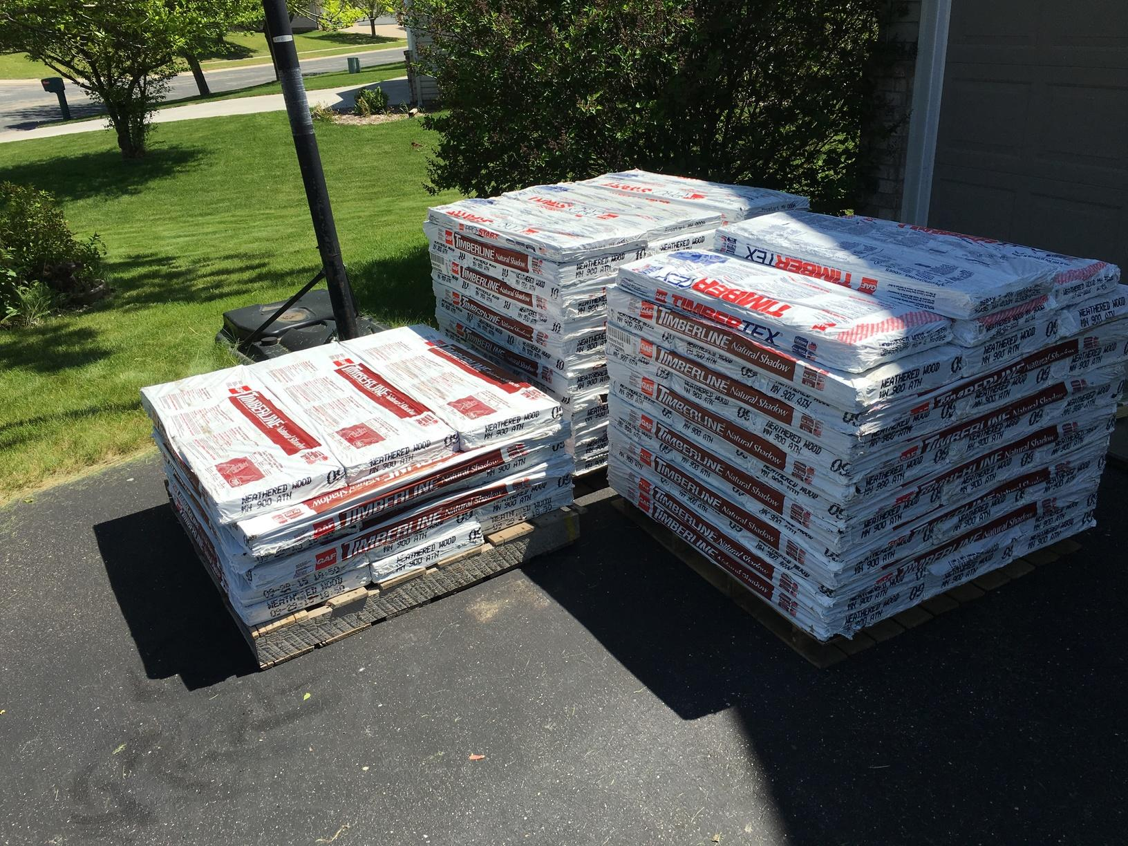 Before each roof replacement or project, we complete a pre-start checklist with the customer. This helps us to be on the same page as to where the customer would like us to place the dumpster and materials. Here are the GAF Shingles delivered the morning of the project.