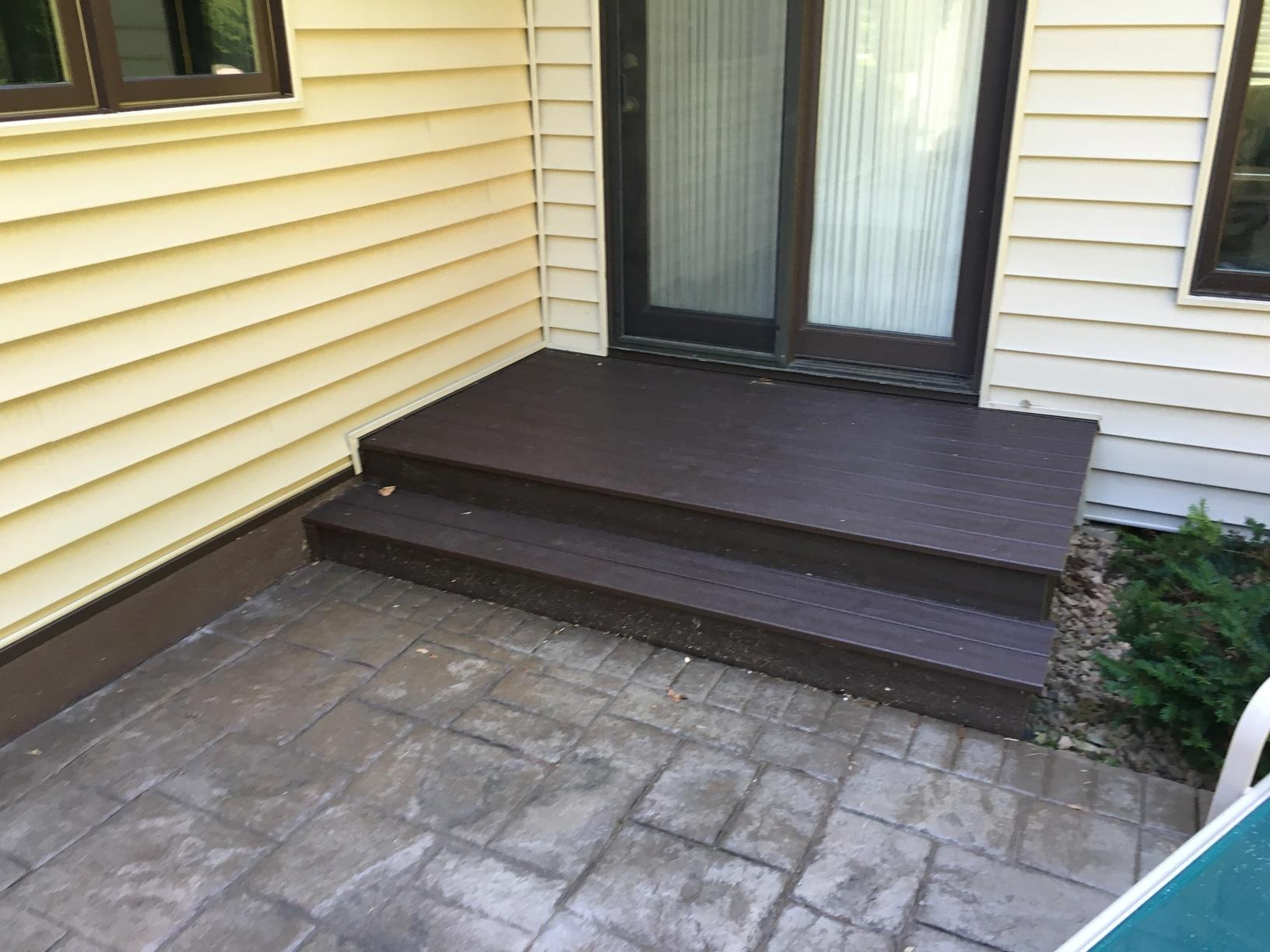 Patio deck replacement. Replaced with Trex maintenance free decking product.